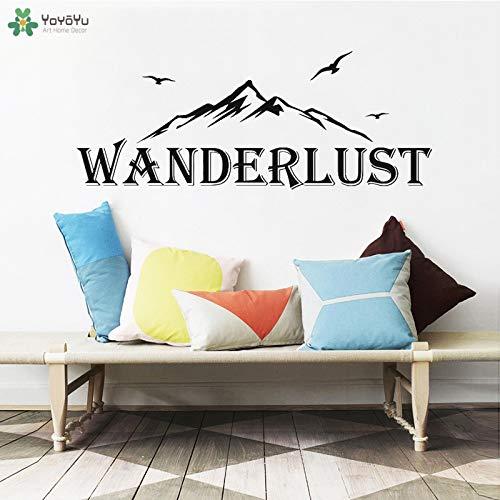 fancjj Adesivo Murale Wanderlust Quote Wall Stickers Montagna Flying Birds Modello Viaggi Avventura Vinile Soggiorno Art Decor 108x42 cm