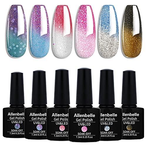Allenbelle Smalto Semipermanente Camaleonte Nail Polish UV LED Gel Unghie (Kit di 6 pcs 7.3ML/pc) T6007