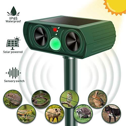 Repellente per Animali, Repellente per Gatti, Solare Repellente Ultrasuoni con Ricarica Solare e USB, Repellente Solare per Talpe, Animali Repeller Impermeabile con LED, per Gatti, Cani, Topi