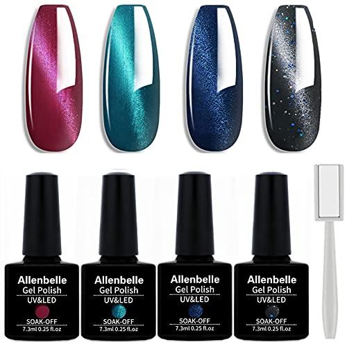 Allenbelle Smalto Semipermanente Magnetico Nail Polish UV LED Gel Unghie 7.3ml (Kit di 4 pcs 7.3ML/pc) 007
