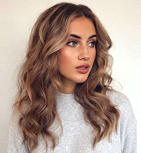 VEBONNY - Parrucca da donna in pizzo marrone con capelli biondi chiari misti, capelli castani, dall'aspetto naturale, marrone ombre, 45,7 cm, VEBONNY-049-18
