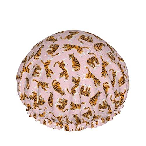 Cuffia da doccia Tigers On The Pink Backround Cuffia da bagno elastica impermeabile a doppio strato Cuffia da notte per uso domestico