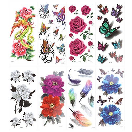 Milisten 8 Fogli 3D Tatuaggio Temporaneo Farfalla Flash Colorato Rosa Peonia Fiore Fenice Piuma per Donna