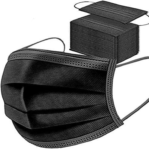 50 maschere nere usa e getta per il viso, traspiranti e traspiranti, elastici per le orecchie.…