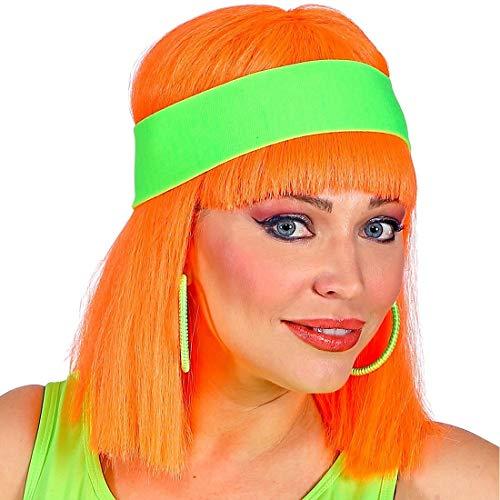 NET TOYS Bellissima Fascia Sportiva Anni '80 - Verde Neon - Fascia Capelli Originale Fluo da Donna - Ideale per Party Anni '80 & Travestimenti