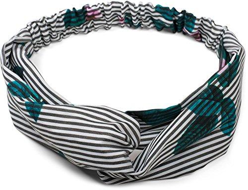 styleBREAKER fascia a righe con nodo incrociato, fiori ed elastico, fascia per capelli, fascia, da donna 04026013, colore:Nero-Bianco