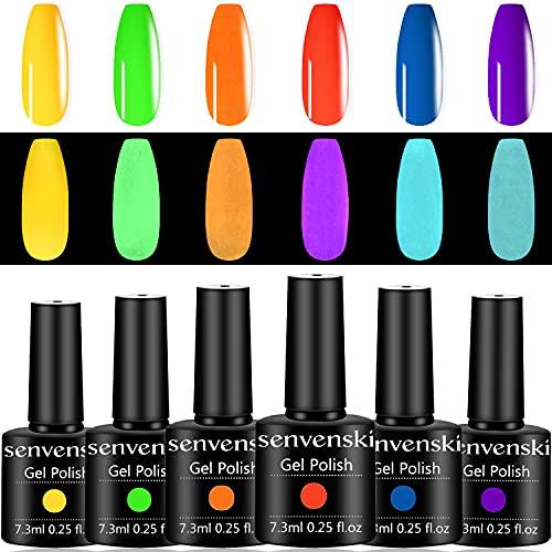 Senvenski Smalto Semipermanente per Unghie Kit Fluorescente Luminoso Neon Rossa Giallo Verde Blu Viola Gel Colore UV LED Vernice Manicure Nail Art Regalo (YG6-001)