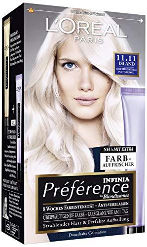 L' Oréal Paris a84404Preference Colorazione Island, 11.11molto brillante immagine Biondo Platino, confezione da (3X 1pezzi)