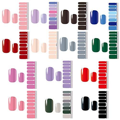 14 Fogli Unghie Adesivi Decalcomanie,Tinta unita Autoadesivo Nail Art Stickers Manicure Fai da te Decorazioni Strumenti