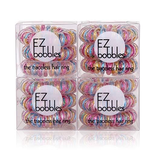 EZbobble 12PCS Elastici per capelli a spirale senza pieghe, elastici per capelli a spirale per donne e ragazze elastici per capelli in plastica serie multicolore a spirale (color)