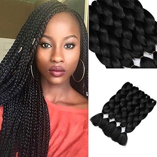 YMHPRIDE 5 pezzi treccia estensioni dei capelli sintetici Kanekalon Jumbo trecce capelli nero 24 pollici(61 cm)