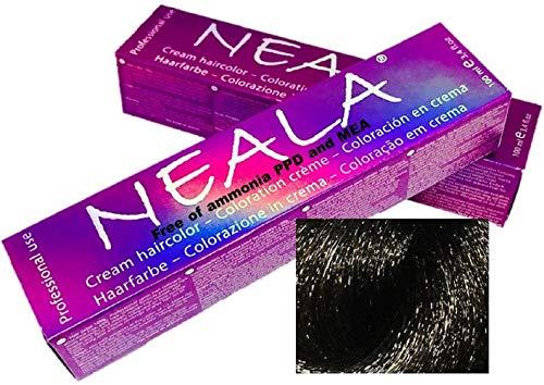 Tintura professionale colorazione per capelli SENZA AMMONIACA, PPD o MEA - 4.1- CASTANO MEDIO CENERE - NEALA 100ml.
