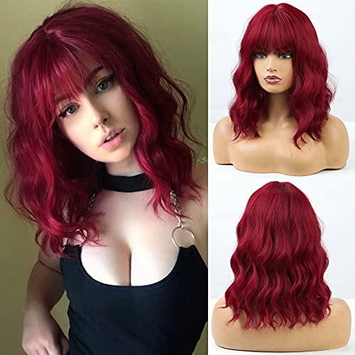 HAIRCUBE Parrucche bob rosse ricci corti per le donne Parrucche sintetiche di alta qualità con frangia Parrucca da donna cosplay resistente al calore con frangia naturale