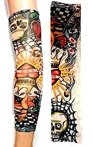 KIRALOVE Manicotto Tattoo - Manica - Tatuaggio Finto - Immagine - Cuore - Corona - Dadi - Teschio - Carte Gioco - Scritta - Tatoo - Mezza Manica - Tribale - Idea Regalo Originale - w08