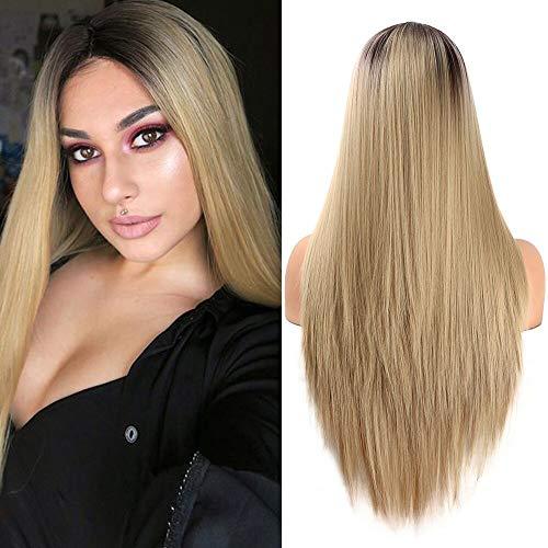 YMHPRIDE parrucca da donna Moda 2 Tone Ombre Resistente al calore parrucca sintetica bionda lunga rettilineo 55,9 cm