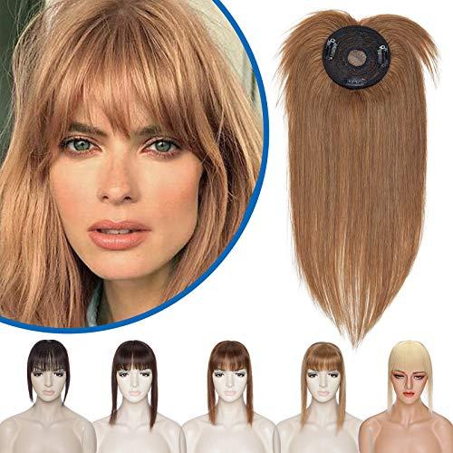 Silk-co Hair Topper Capelli Veri Donna Clip in Extension Toupet Uomo Capelli Umani Brasiliani 30 cm (35 g) #6 Marrone Chiaro