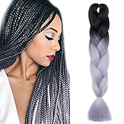 SEGO Treccine Africane Afro Extension Capelli Sintetici Intrecciati per Treccia Finta Braids Hair Trecce Lunghe 60cm 1 Ciocca Crochet 100g - # Nero/Grigio Argento