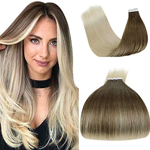 LaaVoo Extension Capelli Veri Biadesivo 18 Pollici Tape in Hair Extensions #8/59 Balayage Light Brown to Light Blonde Extension di Capelli Invisibili Tape in 50g/20pcs