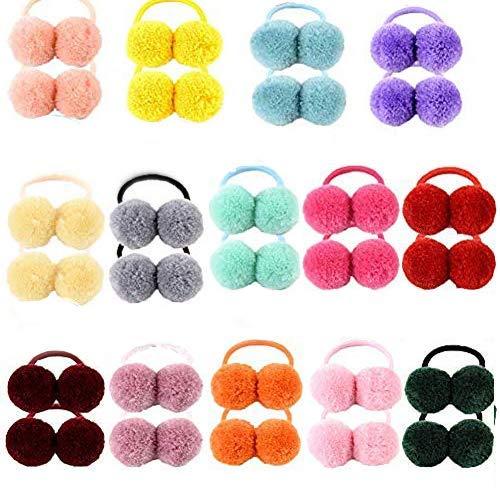 28 fascette elastiche per capelli per bambine e bambine, in gomma morbida, multicolore