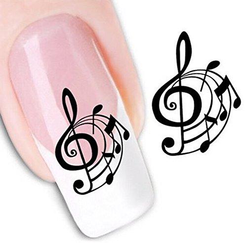 Butterme 5 Foglio Nail Art Sticker multi-stile 3D Art Sticker Nail Tips impermeabile trasparente del chiodo di DIY autoadesivo del tatuaggio per le donne ragazze (Music # 2)