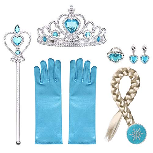 URAQT Elsa Frozen Costume Accessori, Set da Principessa Elsa Corona Bacchetta Guanti Treccia - Include bacchetta magica, tiara in strass, treccia di capelli e guantI