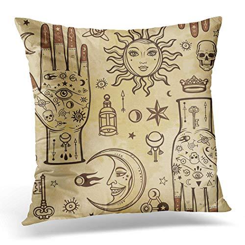 Awowee Federa per cuscino, 40 x 40 cm, motivo a mani umane in tatuaggi, simboli alchemici esoterici, decorazione per la casa, federa quadrata per letto e divano