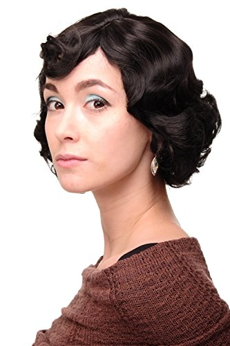 WIG ME UP - Parrucca Donna Anni 20 Swing Caschetto Ondulati Castano Castano scuro circa 25 cm A4002-3