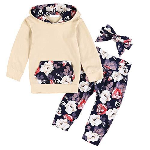 Set di 3 vestiti per neonati a maniche lunghe, motivo floreale, felpa + pantaloni + fascia per capelli Giallo 1 0-6 Mese