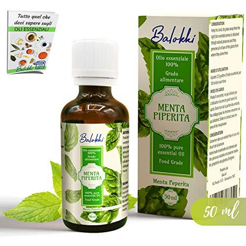 Olio Essenziale Menta Piperita Grado Alimentare + Ebook Incluso • MADE IN ITALY- Per Aromaterapia e Diffusore • Antinfiammatorio Digestivo e Rinfrescante • 100% Puro Naturale• 50 ml boccetta vetro
