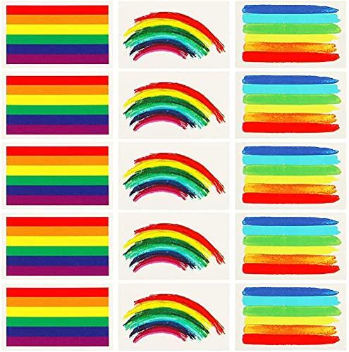 VAMEI 24 Pezzi Gay Pride Adesivi Tatuaggi Temporanei Arcobaleno Bandiera LGBT Accessori per Festa Celebrazioni del Gay Pride Gadget (Multicolor)