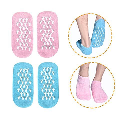Calze idratanti, 2 paia di calze di gel Calze morbide di gel idratanti, calze di gel per riparare e ammorbidire le pelli secche di piedi incrinati, fodera di gel infuso con oli essenziali e vitamine