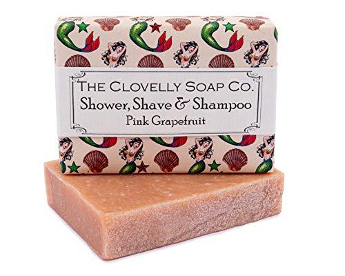 The Clovelly Soap Co. Saponetta Shampoo Solido Naturale Sapone Corpo e Capelli al Pompelmo per Tutti i Tipi di Capelli e Pelle, Sapone Solido Fatto a Mano, 100g