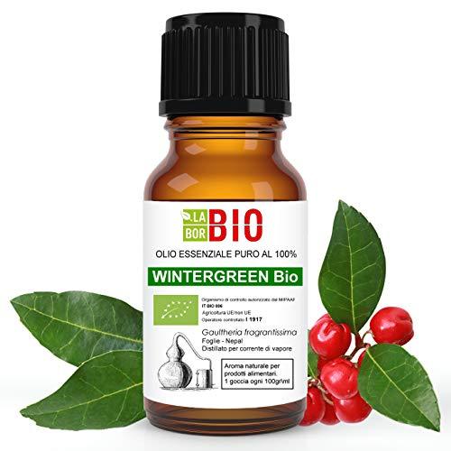 Olio essenziale WINTERGREEN BIO 10ML 100% PURO E NATURALE - AROMATERAPIA COSMETICA ALIMENTARE
