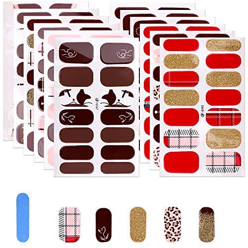 MWOOT Smalto Adesivo per Unghie, 12 Fogli Adesivo Unghie Nail Art, Decalcomanie Autoadesive per Unghie - Rosa Glitter Styles Nail Wraps Sticker