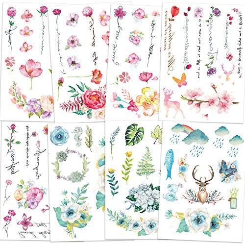 Qpout Tatuaggi temporanei di fiori per donne ragazze bambini, 8 fogli impermeabile realistico braccio fiore tatuaggio rosa adesivo mano retro collo polso decorazione fiore uccello cervo