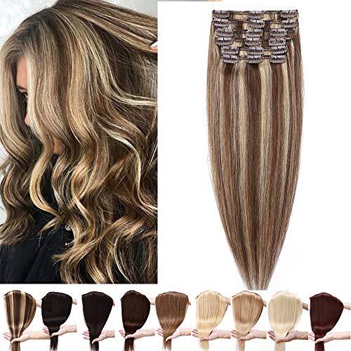 Silk-co Clip Extension Capelli Veri 8 Pezzi 55cm Clip in Hair Extension Capelli Umani 85g Extension con Clip - 4P27 Marrone Medio & Biondo Scuro