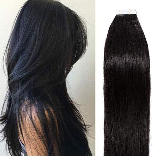 45cm Extension Capelli Veri Biadesivo 100g Neri Extension con Adesive 40 Fasce Remy Human Hair Tape Umani Lisci, 1B Nero Naturale