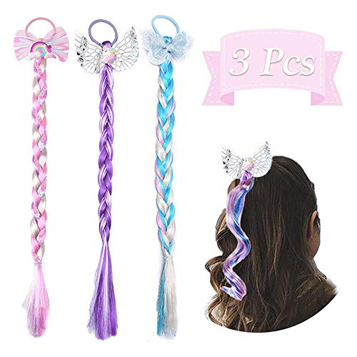 Dodheah Parrucca Rapunzel Bambina Ragazze Braid Regalo per Bambini Principessa Dress Up 3 Pezzi Accessori per Festa di Compleanno Cosplay A