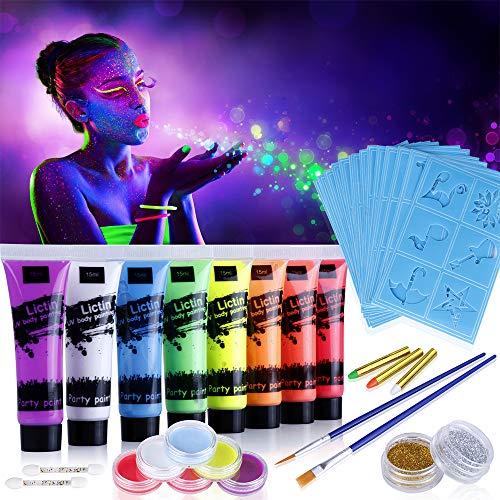 Lictin Vernice Fluorescente Colorato,Neon Kit per Pelle Viso Corpo,Fluo Party UV Body Painting,8 Vernice Fluorescente,6 Truccabimbi,4 Pennelli,3 Pastelli Colorati,2 Glitter,20 Stampini
