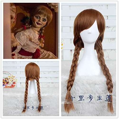 Parrucca cosplay bambola Annabelle 65 cm marrone capelli lisci sintetici perucas parrucca cosplay The Conjuring Cosplay Girl Headwear Halloween