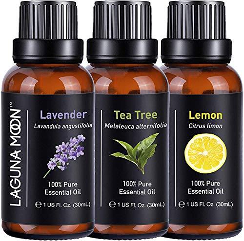 Lagunamoon - Oli essenziali per aromaterapia, set per diffusore, umidificatore, massaggio, aromaterapia, sinistro e cura dei capelli, set da 3, 30 ml