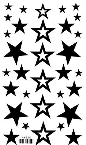SPESTYLE Impermeabile Non tossico Tatuaggio stickerstemporary temporaneo Tatuaggi Impermeabile Non tossico Nuovo Solido Cava Stella a Cinque Punte