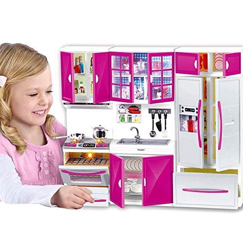 Cucina per Bambole Giocattolo Mobili casa bambole per Bambini Luci e Suoni Realistici con Piano Cottura Funzionante Forno Lavello Mobili ad Ante Frigorifero e Tantissimi Accessori Gioco 40 x 30 cm