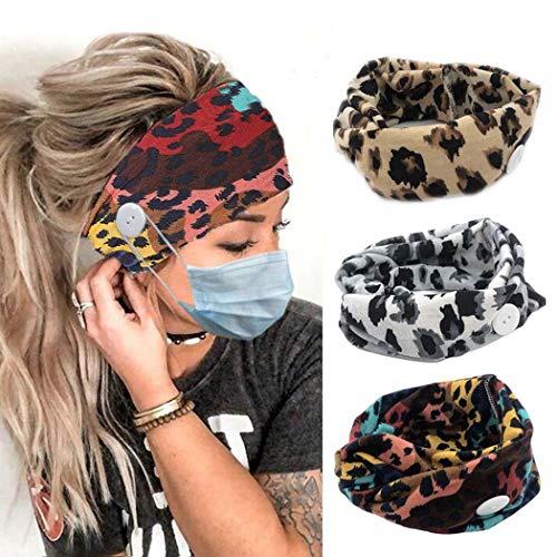 Zoestar - Fascia per capelli con motivo leopardo, stile boho, per donne e ragazze, 3 pezzi