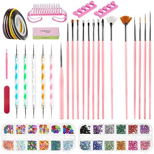 ZWOOS Nail Art Design Set Decorazioni Unghie Nail Art Tool Kit Manicure Pennelli Nail Art Design Kit Nail Art, 38 pz