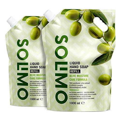 Marchio Amazon - Solimo Ricarica di sapone liquido per mani. Formula idratante all'oliva- Confezione da 2 (2 ricariche x 1000ml)