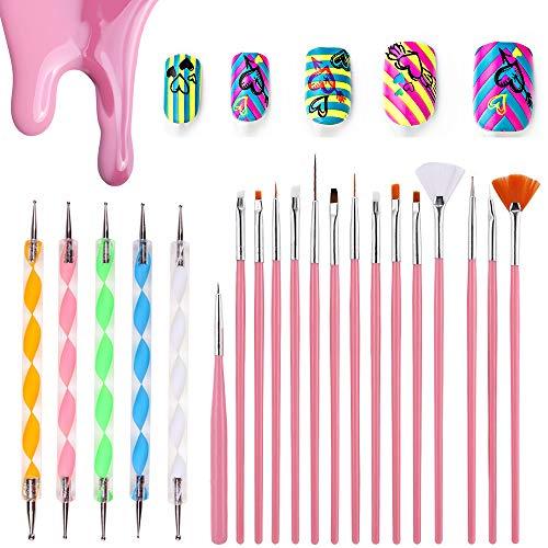 Nail Art Pennelli Nail Art Designing Painting Dotting Detailing Pen Brushes Bundle Tool Kit,15 pz Nail Art Pennelli Smalto per Unghie Spazzola di Pittura + 5 pz Marbleizing Che Punteggiano Penna