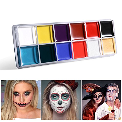 Toyvian 12 Colori Pittura a Olio Viso Corpo Make up per Festa di Halloween