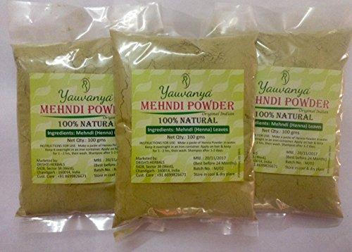 Yauvanya Original Indian Pure e Natural Mehndi (Henna) per capelli - 3X100 gms