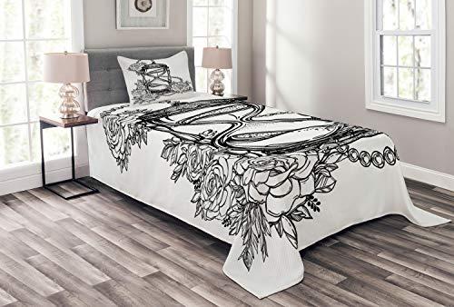ABAKUHAUS Tatuaggio Copriletto, Sketch Stile Clessidra, Colori Chiari, 170 x 220 cm, Bianco e Nero